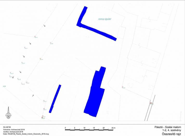 5. kép: A feltárt területek átnézeti rajza, Pásztó–Szalai-malom, 1-2. valamint 4. szelvény