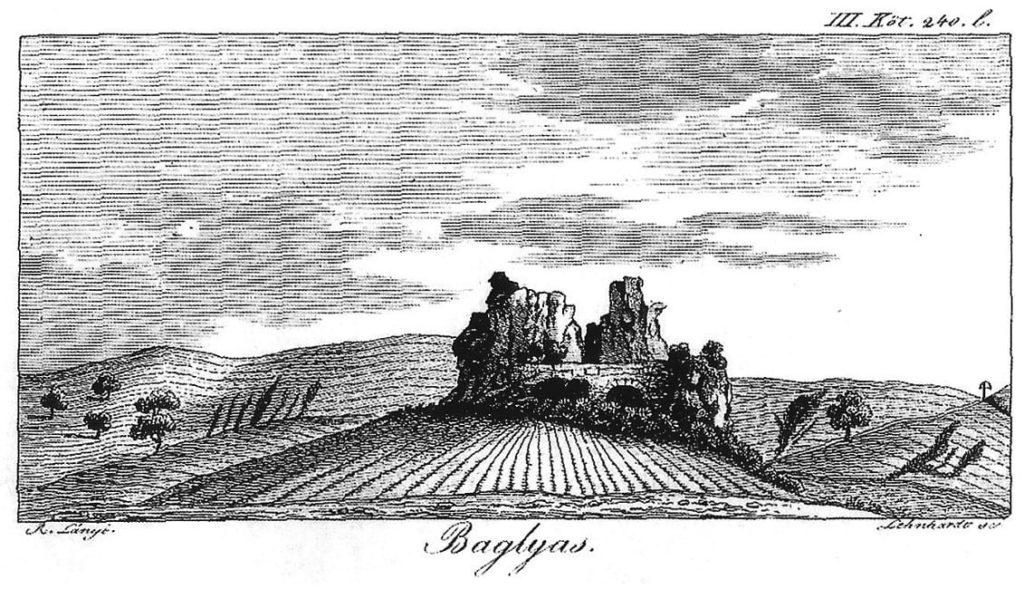 Mocsáry 1826, 242. ábrázolása a várról (Lehnhardt S. metszete után)