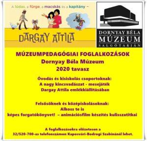 Dargay Attila emlékkiállításához kapcsolódó múzeumpedagógiai foglalkozás