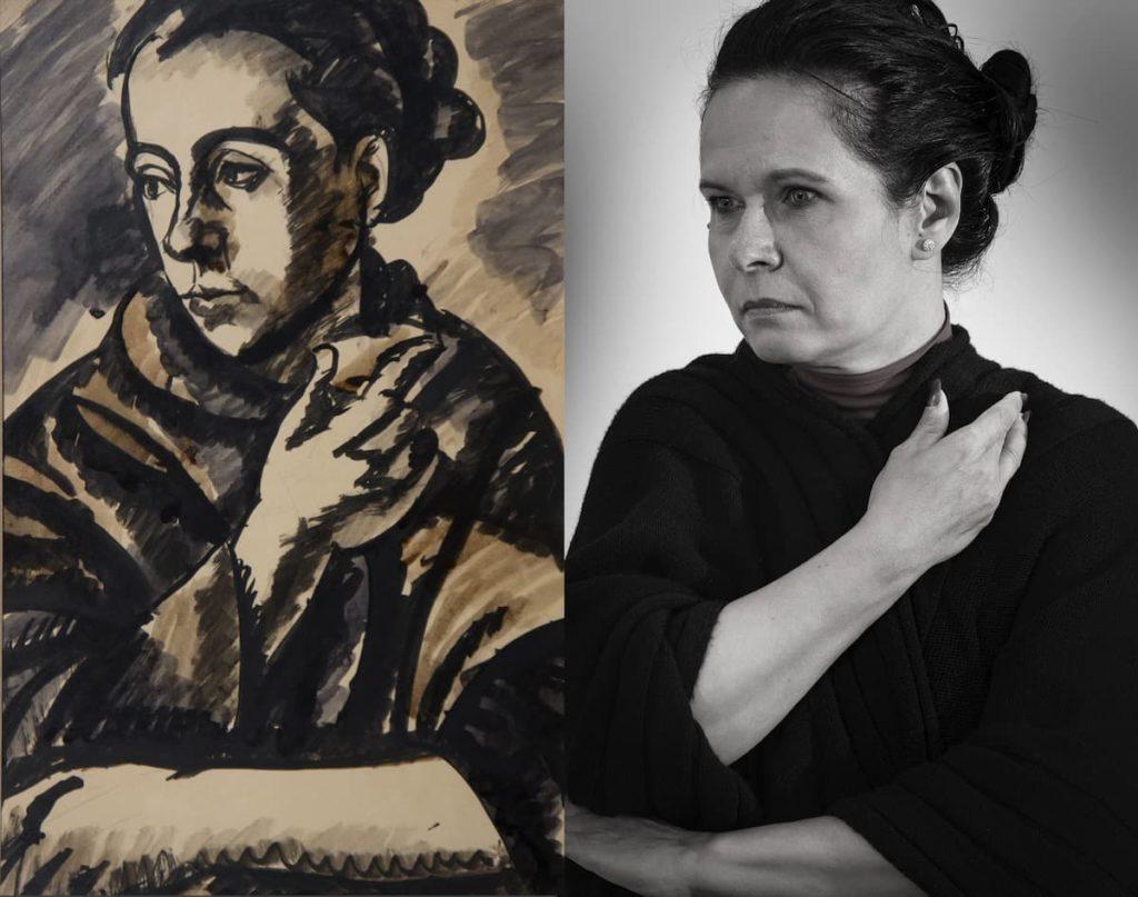 Uitz Béla: Kontyos női arckép