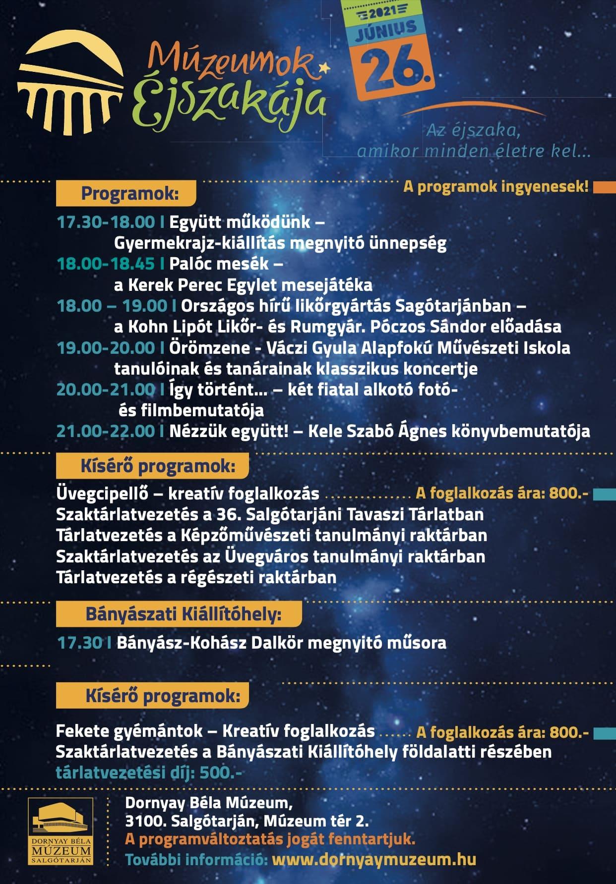 junius 26 muzeumok ejszakaja salgotarjan dornyay bela muzeum